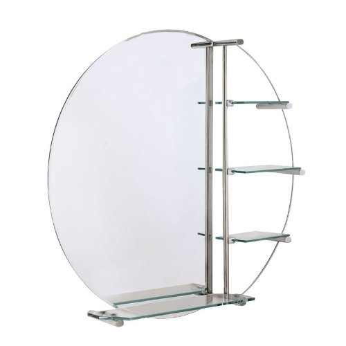 Round Wall Mounted Circular Bathroom Glass Mirror with Shelves Vanity Storage