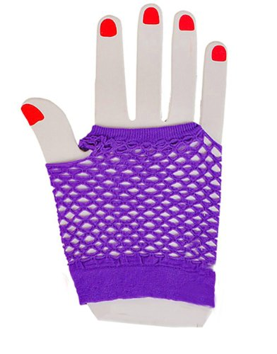 Sexy Neon Purple Fishnet Fingerless 80s Rock Costume Half Gloves