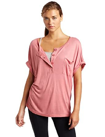 Women's Oversized Henley Tee With Pocket, Rose, Large
