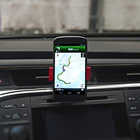 "Best Quality Car Cell Phone Holder - Extremely Compact Car Phone Mount - For Iphone 6 6+ 5 5S 5C 4 4S Nexus HTC LG Samsung Galaxy S5 S4 S3 Note 4 3 and other Smartphones or Android Devices up to 5.5"" - Easily Attaches to Any Air Vent - Ultra Durable Grip - 360 Degree Swivel for Easy Viewing You Cell From Any Angle"