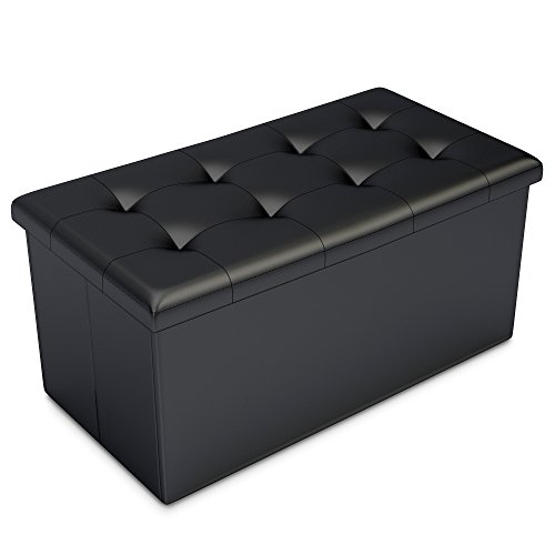Previous · / Next - Black Faux Leather Ottoman Storage Bench -Great As A Double Seat