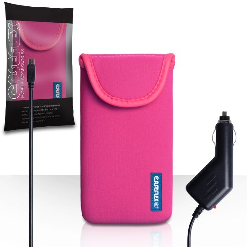 Nokia Lumia 825 Case Hot Pink Neoprene Pouch Cover With Caseflex Logo And Car Charger