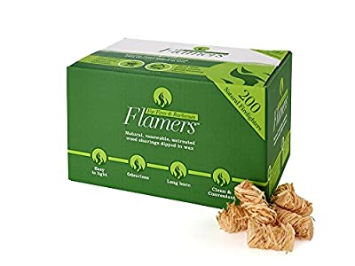 Flamers x 200 box Natural Firelighters for log burners, Home fires, BBQ's, Even Larger Pack!