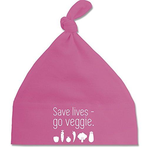 up-to-date-baby-save-lives-go-veggie-unisize-pink-bz15-baby-mutze-mit-einfachem-knoten-bommel-als-ge