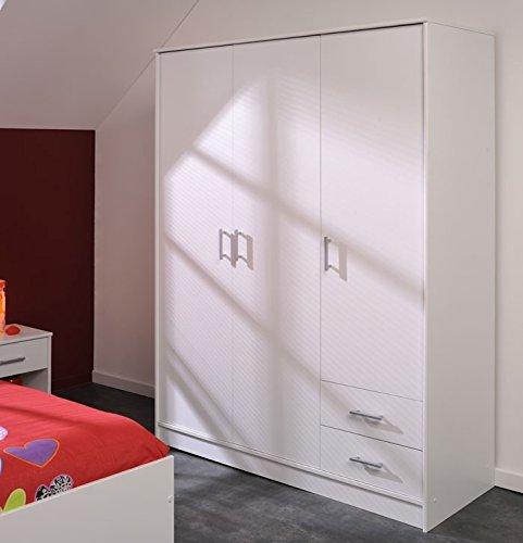 Kleiderschrank Inaco weiß 133x180x50 cm Schrank Schlafzimmerschrank Hochschrank Wandschrank Schlafzimmer