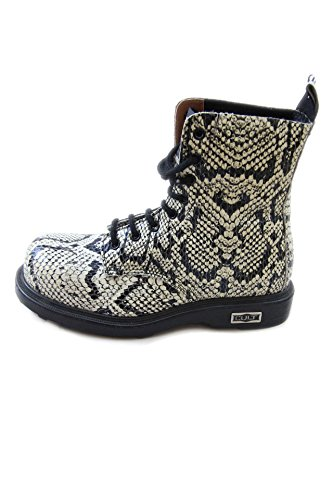 Cult Bolt Vintage Leather mid Boots Python Steel Toe White/Black (37, python)