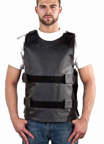 Mens Leather Bullet REPLICA Vest, Velcro Straps