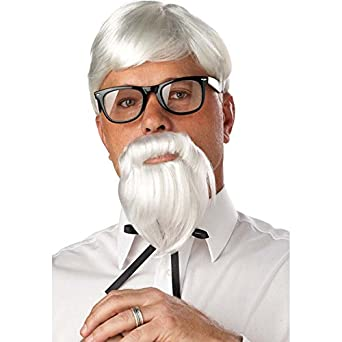 California Costumes The Colonel Wig And Moustache, White, One Size