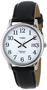 "Timex Men's T2H281 ""Easy Reader"" Black Leather Strap Watch"