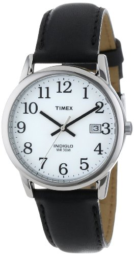 "Timex Men's T2H281 ""Easy Reader"" Black Leather Strap Watch image"