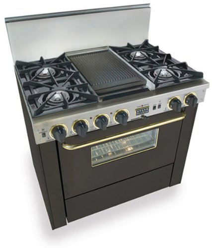 """36"""" Pro-Style Dual-Fuel Range With 4 Open Burners Vari-Flame Simmer On Front Burners 3.69 Cu. Ft. Convection Oven And Double Sided Grill/Griddle Black With Brass"""
