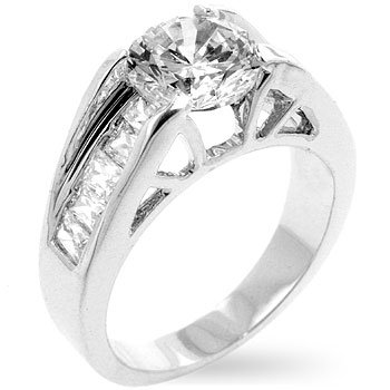 White Gold Rhodium Bonded Classic Anniversary Ring with Round Cut CZ Center Stone and Channel Set Baguette Accent CZ in Silvertone