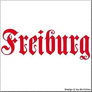 cartattoo4you AH-00662 | FREIBURG - Fraktur / Altdeutsche Schrift | Autoaufkleber Aufkleber FARBE hellrot , in 23 weiteren Farben erhältlich , glänzend 57 x 20 cm in PREMIUM - Qualität Waschstrassenfest VERSANDKOSTENFREI