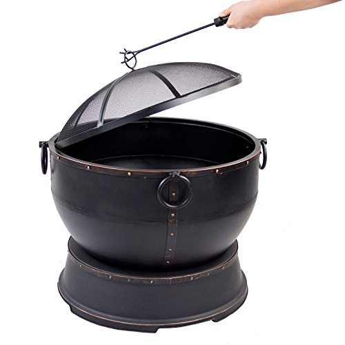 Pleasant-Hearth-Athena-Wood-Burning-Patio-Firepit-with-Spark-Guard-Cover