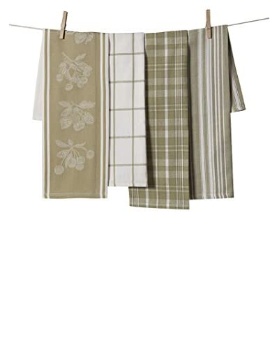 KAF Home Set of 4 Cherry & Strawberry Jacquard Towel Set, Green