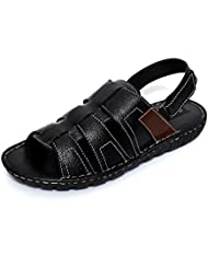 Adler Men's Black Genuine Leather Stylish Sandals-8 Uk
