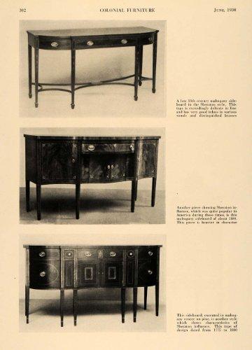1930 Print Sideboard Sheraton Style 1800s Furniture - Original Halftone Print