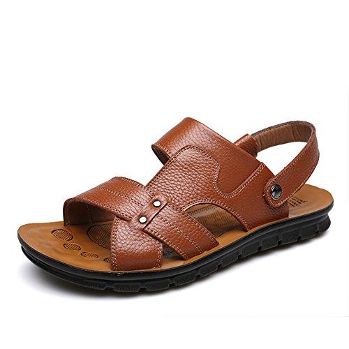 Sandali uomo/ peep-toe scarpe di cuoio/Scarpe da spiaggia/Maschile casual in pelle Sandalo-C Lunghezza piede=24.8CM(9.8Inch)