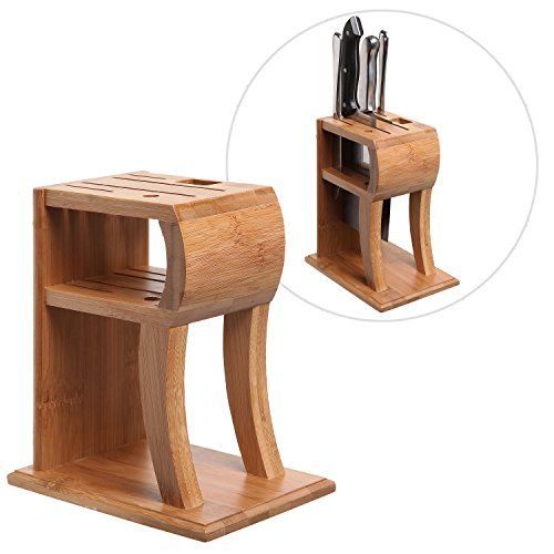 Modern Decorative Brown Bamboo Kitchen Counter Top Knife Block / Cutlery Storage & Display Rack