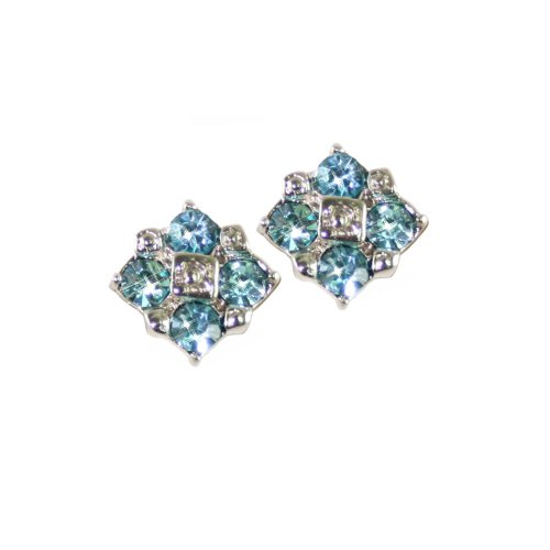 Exquisite Aquamarine Crystal Silver Stud Clip On Earrings