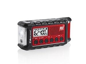 Midland ER300 Emergency Solar Hand Crank AM FM Digital NOAA Weather Radio with Cree LED Flashlight and USB Charger Output