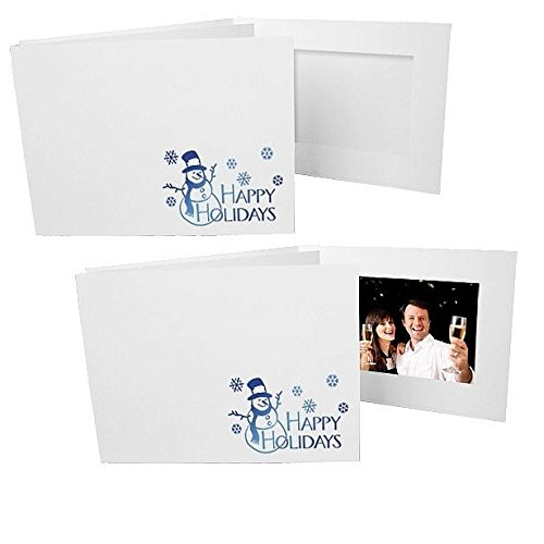 Happy Holiday Foil Snowman On White Cardboard Photo Folder Frame Our Price Is For 50 Pcs - 4X6