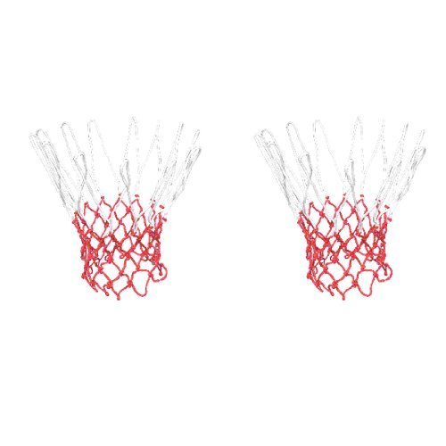 Dimart 2 Pcs 12 Loops Nylon Braided String Knotted Basketball Netty Mesh Red White diy protective 6mm pet braided cable expandable mesh sleeve red 15m