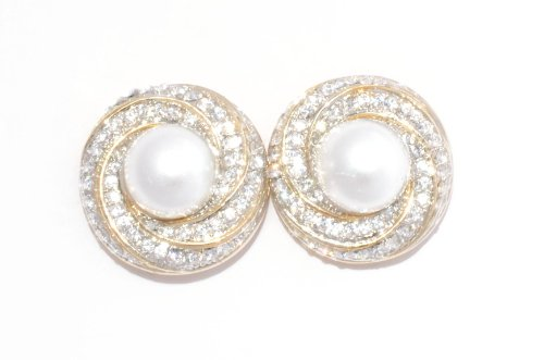 Mirror Brass Stud Earring For Women ( White )