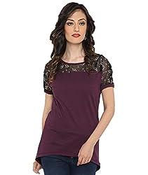 Bedazzle Casual Purple With Plain Black Net Women's Top
