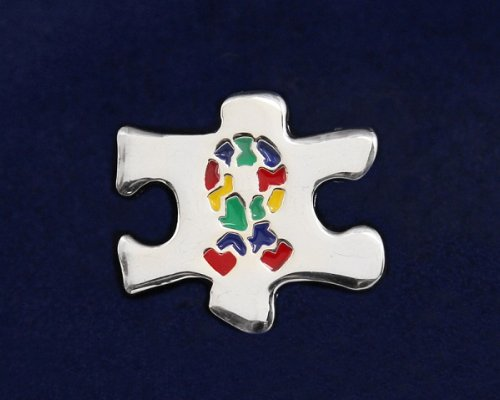 Autism Ribbon Pin- Large Silver Puzzle Piece w/ Autism Ribbon (27 Pins)
