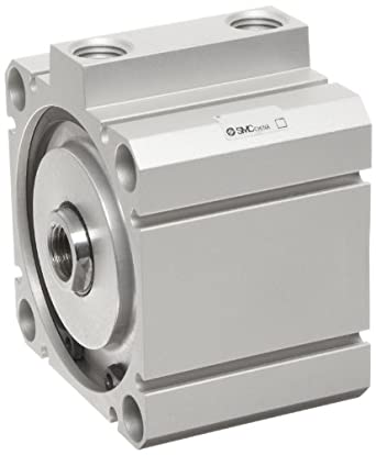 SMC NCQ8 Series Aluminum Air Cylinder, Compact, Double Acting, Through Hole Mounting, Not Switch Ready, No Cushion