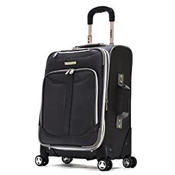 Olympia Luggage  Tuscany 21 Inch Expandable Spinner Airline Carry-On Upright,Black,One Size
