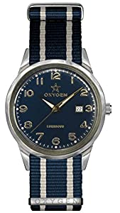 Oxygen Nevada 40 Unisex Quartz Watch with Blue Dial Analogue Display and Blue Nylon Strap EX-SV-NEV-40-NN-NAIVNA