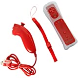 2in1 Manette Wiimote Controller + Nunchuk + intégré Motion Plus pour Wii Rouge