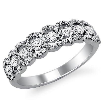 .90Ct Round Diamond Wedding Band Ring 18K White Gold