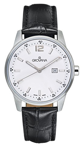 Grovana unisex Quartz Watch with White Dial Analogue Display and Black Leather Strap 7715.1533