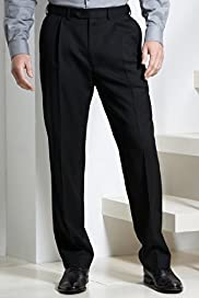 Big & Tall Supercrease® Active Waistband Pleated Trousers with Wool