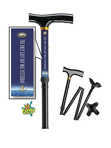 Adjustable Folding Walking Cane With Feet Us Navy Motto