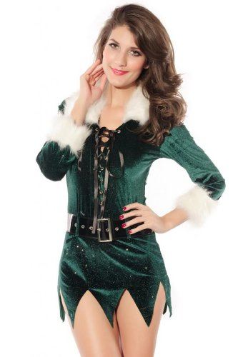 Dear-Lover Women's Elf Dress with Deluxe Swan Feathers Costume
