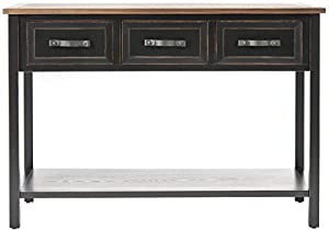 Safavieh American Home Collection Earley Distressed Black and Walnut Three Drawer Console Table