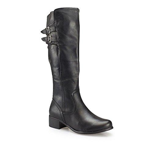 Damen Winterstiefel - Moderne Stiefel mit Schnallen-Applikation in genarbter Leder-Optik schwarz 37