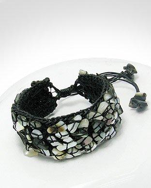 Black Adjustable Mother of Pearl Cuff Bracelet