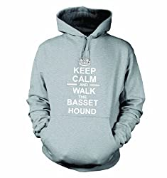 Keep Calm And Walk The Basset Hound Hooded Sweatshirt Hoody In Heather Grey