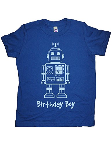 Boys Robot Birthday Shirt 5-6 Blue by Sunshine Mountain Tees (Robot 5t compare prices)