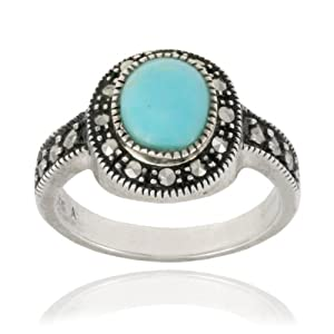 Sterling Silver Marcasite and Synthetic Turquoise Oval Ring, Size 8