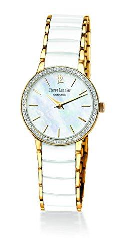 Pierre Lannier - 045K590 - Montre Femme - Quartz Analogique - Cadran Nacre - Bracelet Céramique Blanc