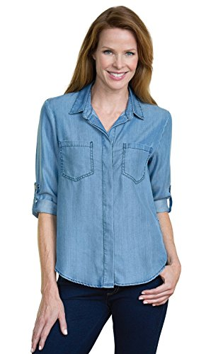 100 moisture wicking tencel button up chambray shirt with for Moisture wicking button down shirts