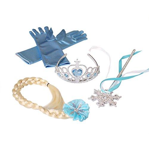 Frozen Elsa Accessories Set - Hair Braid, Tiara, Glove, and Snowflake Wand