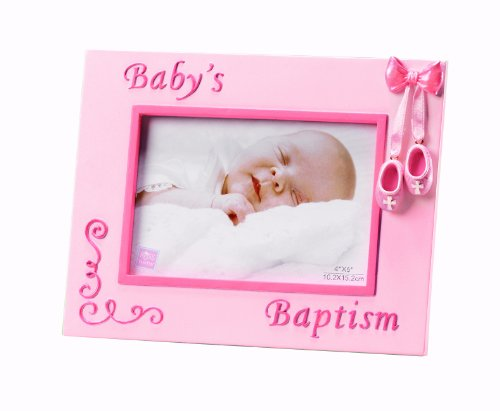 Russ Berrie Small Blessings Baby's Baptism Photo Frame, Pink