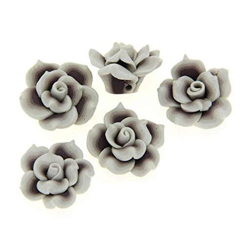 HlDIY 30Pcs White Edge Grey Rose Flower Fimo Polymer Clay Spacer Beads 25Mm